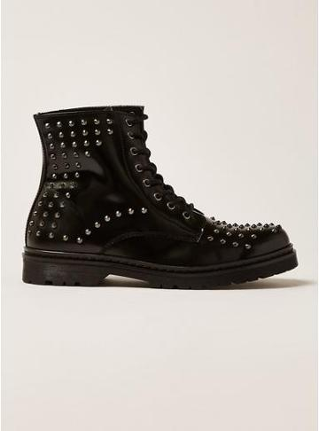 Topman Mens Black Leather Forge Stud Boots