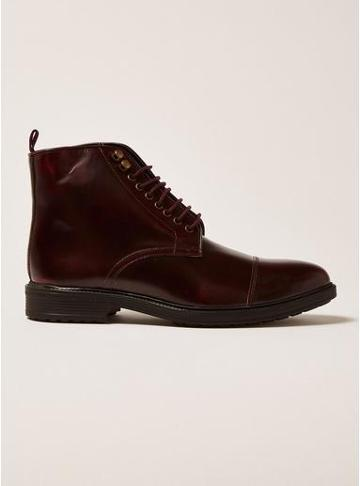 Topman Mens Red Burgundy Leather Baron Lace Up Boots