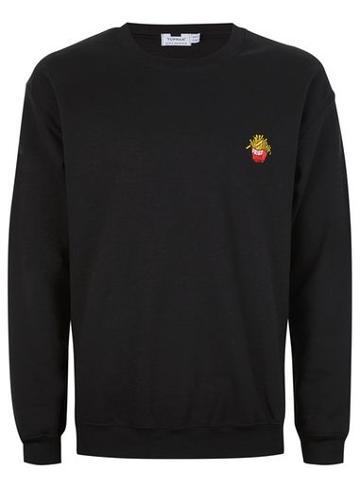 Topman Mens Black 'fries' Embroidered Sweatshirt