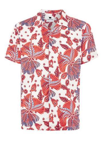 Topman Mens White And Red Print Short Sleeve Shirt
