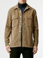 Topman Mens Brown Stone Cord Long Sleeve Overshirt
