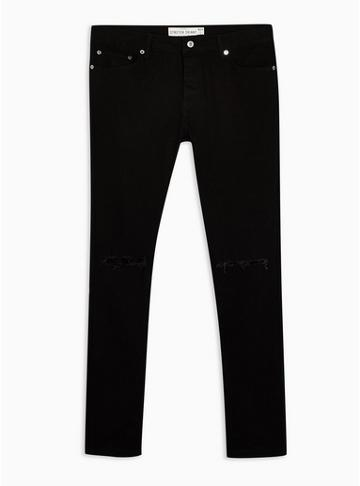 Topman Mens Black Ripped Skinny Jeans With Chain