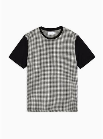 Topman Mens Black Puppytooth Check T-shirt