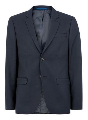Topman Mens Navy Textured Skinny Fit Suit Jacket