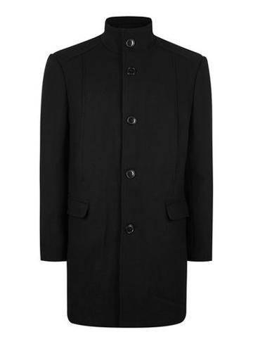 Topman Mens Selected Homme Black Wool Coat