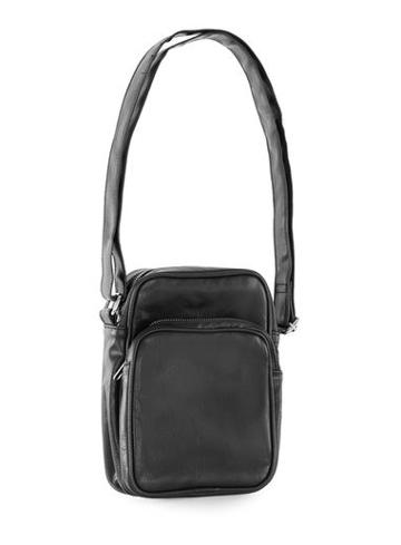 Topman Mens Black Faux Leather Messenger Bag