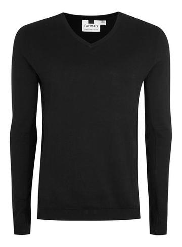 Topman Mens Black Ribbed Jumper