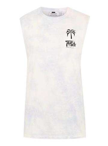 Topman Mens White Wash Tropic Tank Vest
