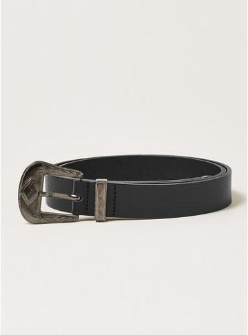 Topman Mens Black And Silver Western Leather Belt