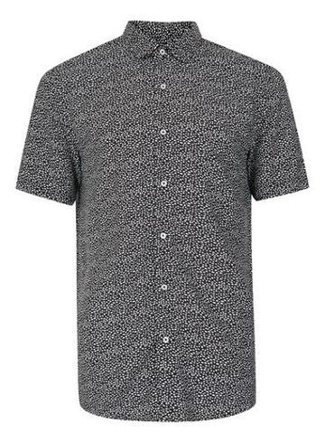 Topman Mens Black And White Pebble Print Short Sleeve Viscose Shirt