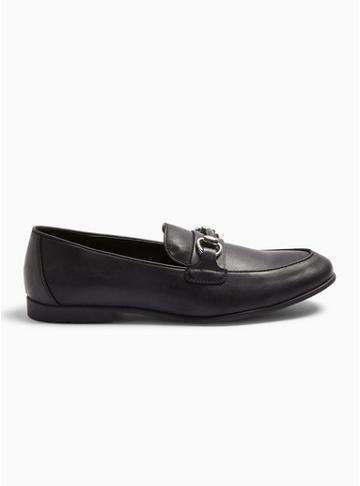 Topman Mens Black Pu 'arlo' Snaffle Loafers