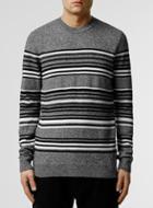 Topman Mens Grey Salt And Pepper Stripe Crew Neck Sweater