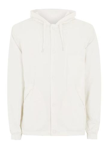 Topman Mens Cream Off White Hooded Coach Jacket