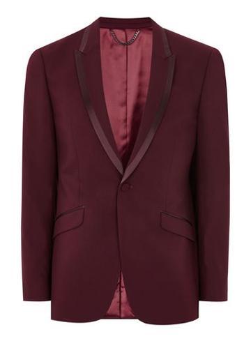 Topman Mens Red Burgundy Skinny Tux Jacket