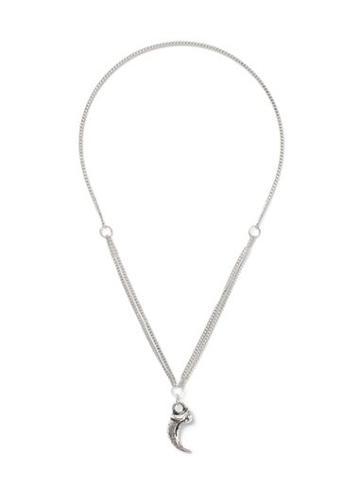 Topman Mens Silver Look Tusk Pendant Necklace*