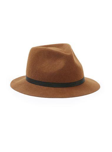 Topman Mens Red Brown Short Brim Puritan Hat