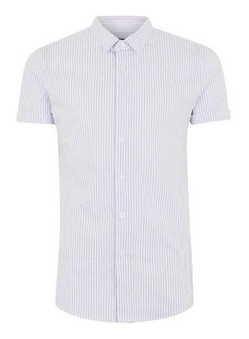 Topman Mens White And Blue Stripe Muscle Short Sleeve Shirt