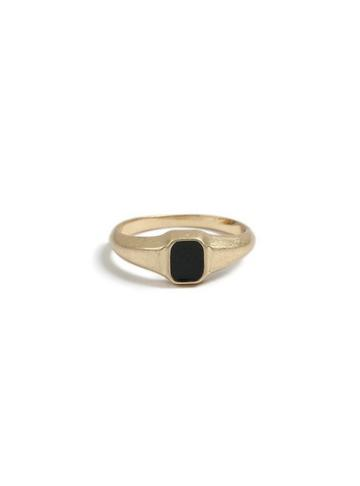Topman Mens Black Gold Signet Ring*