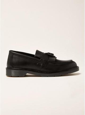 Topman Mens Black Leather Slater Penny Loafers