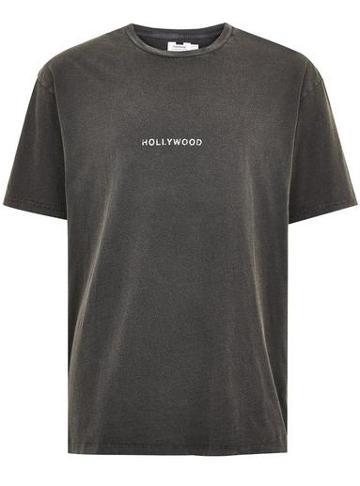 Topman Mens Washed Black 'hollywood' Slogan T-shirt