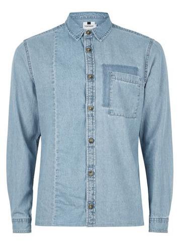 Topman Mens Blue Wash Cut And Sew Denim Shirt