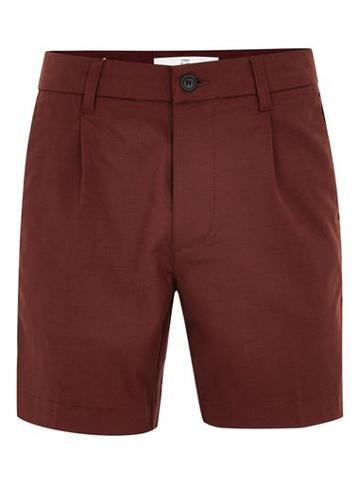 Topman Mens Red Burgundy Smart Pleated Tencel Shorts