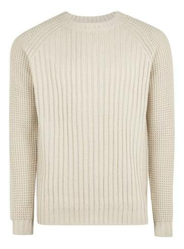 Topman Mens Beige Stone Knitted Sweater