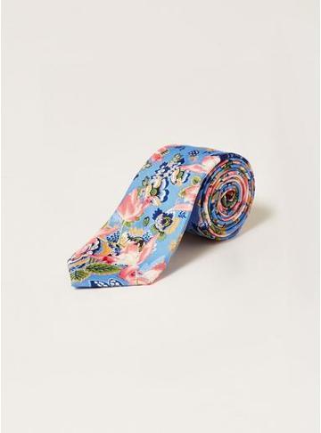 Topman Mens Light Blue Floral Tie