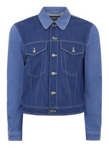 Topman Mens Topman Design Blue Color Block Denim Jacket
