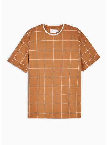 Topman Mens Brown Windowpane Check T-shirt