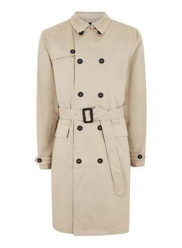 Topman Mens Stone Double Breasted Trench Coat