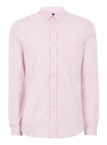 Topman Mens Light Pink Muscle Fit Oxford Shirt