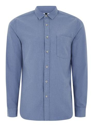 Topman Mens Blue Flannel Herringbone Shirt