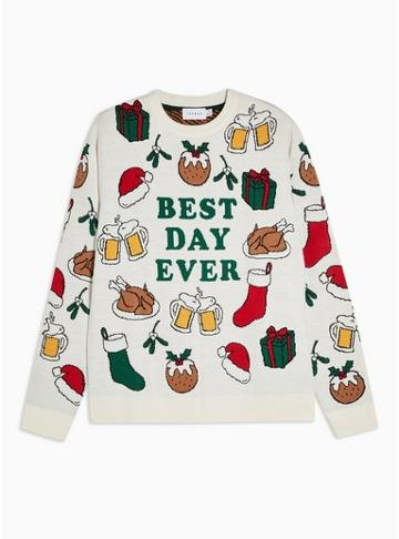 Topman Mens Cream Christmas Best Day Ever Jumper