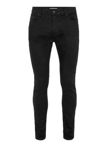Topman Mens Black Oil Coated Stretch Skinny Jeans