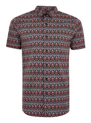 Topman Mens Multi Mirrored Feather Short Sleeve Shirt
