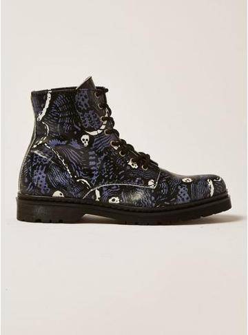 Topman Mens Black Leather Forge Print Boots