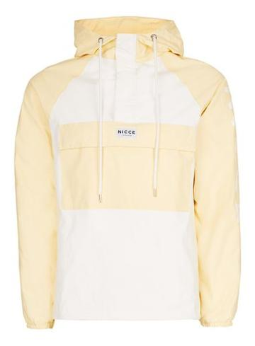 Topman Mens Nicce Yellow And White Panelled Overhead Jacket