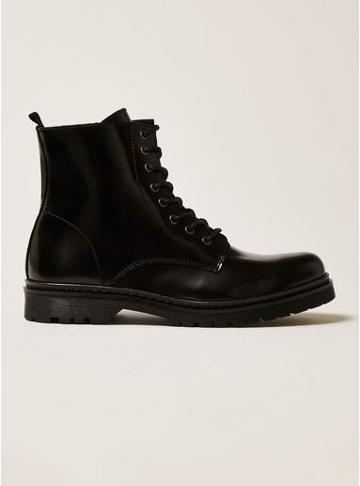 Topman Mens Black Leather Forge Lace Boots