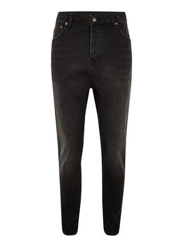 Topman Mens Washed Black Drop Crotch Jeans