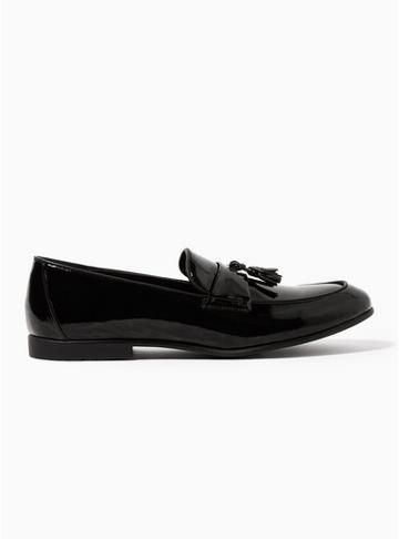 Topman Mens Black Pu Prince Patent Loafers
