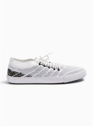 Topman Mens White Knit 'tuck' Trainers