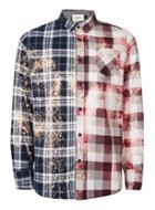 Topman Mens Multi Topman Finds Bleached Check Spliced Shirt