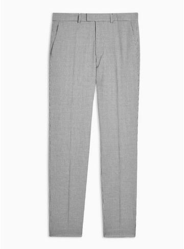 Topman Mens Grey Gray And White Houndstooth Skinny Fit Suit Trousers