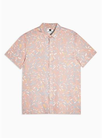 Topman Mens Pink Misty Rose Floral Slim Shirt