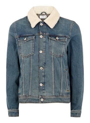 Topman Mens Blue Corduroy Collar Denim Jacket
