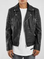 Topman Mens Black Belted Leather Biker Jacket*