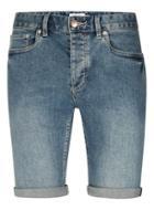 Topman Mens Vintage Wash Blue Stretch Skinny Denim Shorts