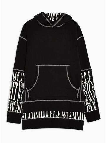 Topman Mens Black Double Layered Hoodie