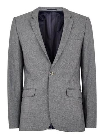 Topman Mens Grey Gray Dogstooth Ultra Skinny Fit Blazer
